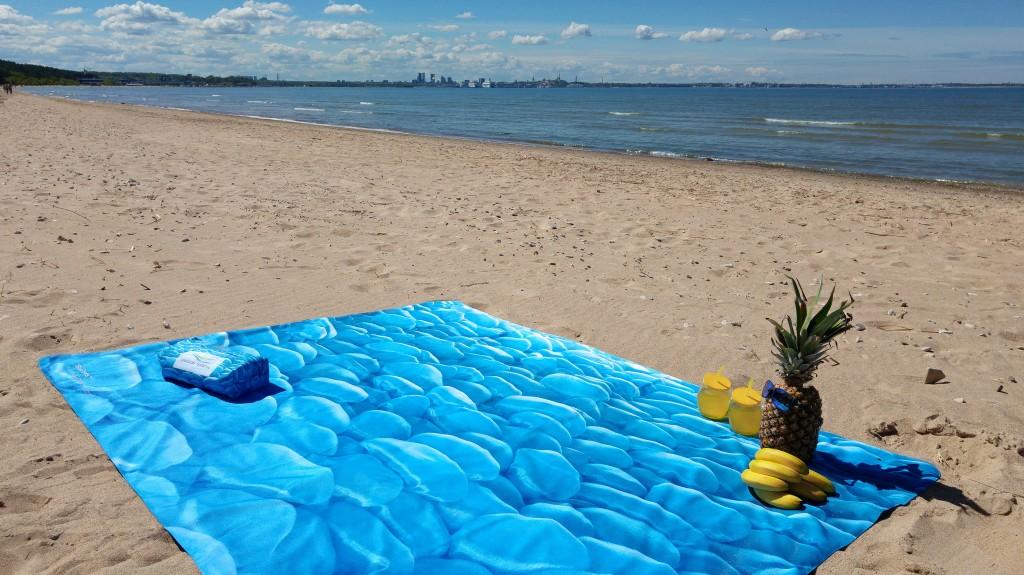 Blue Stones, Beach Textile by Liivi Leppik